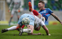 Danske Bank Premiership Play-off , Windsor Park, Belfast  7/4/2018. Linfield FC vs Ballymena United. Linfield\'s    Kirk Millar         and Stephen McAlorum    of Ballymena United.. Mandatory Credit @INPHO/Brian Little