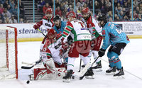 Press Eye - Belfast, Northern Ireland - 01st February 2020 - Photo by William Cherry/Presseye. Belfast Giants\' Bobby Farnham with Cardiff Devils\' Ben Bowns during Sunday afternoons Elite Ice Hockey League game at the SSE Arena, Belfast.   Photo by William Cherry/Presseye