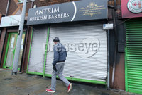 Press Eye - Belfast - Northern Ireland - 5th February 2019. The scene on Antrim\'s High Street where a newly open Turkish Barbers was gutted after an arson attack on Monday evening.  Firefighters tackled the blaze around 7.40pm on Monday night with police investigating the incident. . Picture by Jonathan Porter/PressEye