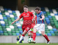 Danske Bank Premiership, Windsor Park, Belfast 9/2/2019. Linfield vs Coleraine. Linfield\'s Jamie Mulgrew with Coleraine\'s Ben Doherty. Mandatory Credit INPHO/Matt Mackey