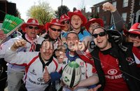 ©Press Eye Ltd Northern Ireland -28th April 2012. Mandatory Credit - Picture by Darren Kidd/Presseye.com .  . HEINEKEN CUP SEMI-FINAL: ULSTER V EDINBURGH, AVIVA STADIUM, DUBLIN..  Ulster fans at the Aviva Stadium ahead of Saturday\'s Heineken Cup semi-final