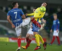 Danske Bank Premiership, Windsor Park, Belfast 2/12/2017. Linfield vs Dungannon Swifts. Linfield\'s Andrew Waterworth and Grant Hutchinson of Dungannon Swifts. Mandatory Credit @INPHO/Brian Little