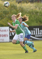 Press Eye - Belfast - Northern Ireland - 8th June. World Cup qualifier - Northern Ireland  v Netherlands at Shamrock Park Portadown.. Northern Irelands Rachel Furness  in action with Netherlands Siri Worm . Mandatory Credit: Presseye/Stephen Hamilton