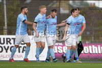12th October 2019. Danske Bank Irish premiership. Ballymena v Crusaders at Warden Street.. Ballymena\'s  Ryan Harpur celebrates after scoring . Mandatory Credit -Inpho/Stephen Hamilton.