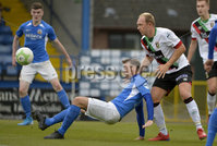 9th August 2019. Danske Bank Premiership. Mourneview Park, Lurgan. . Glenavon FC Vs Glentoran FC. Glenavon Andy Hall in action with Glentorans Ross Redman . Mandatory Credit : Stephen Hamilton/Inpho