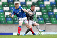 Danske Bank Premiership, Windsor Park, Belfast 10/8/2019. Linfield vs Institute. Linfield\'s Shayne Lavery with Institute\'s Brandan McLaughlin. Mandatory Credit INPHO/John McVitty
