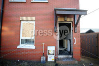 Press Eye - Belfast - Northern Ireland - 21st October 2019. The scene on Ardoyne Avenue in north Belfast where a property was targeted in an overnight arson attack. . Picture by Jonathan Porter/PressEye