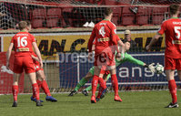 13th April 2019. Danske Bank Irish premiership. Cliftonville v Ballymena United at Solitude Belfast.. Cliftonville\'s Richard Brush can\'t stop Johnny McMurrays shot from crossing the line  . Mandatory Credit -Inpho/Stephen Hamilton .