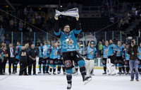 Press Eye - Belfast -  Northern Ireland - 06th April 2019 - Photo by William Cherry/Presseye. Belfast Giants\' Mark Garside pictured with the Elite Ice Hockey League trophy after being crowned Champions at the SSE Arena, Belfast.       Photo by William Cherry/Presseye