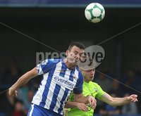 Danske Bank Premiership, Showgrounds, Coleraine 4/8/2018. Coleraine vs Warrenpoint. Coleraine\'s Eoin Bradley and Warrenpoint\'s Emmet Hughes. Mandatory Credit ©INPHO/Lorcan Doherty