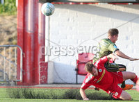 UEFA Europa League First Qualifying Round First Leg, Solitude, Belfast 12/7/2018. Cliftonville vs Nordsjaelland. Cliftonville\'s Cliftonville tackles Nordsjaelland\'s Mads Pedersen and receives a yellow card.. Mandatory Credit ©INPHO/Jonathan Porter