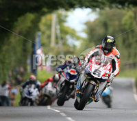 PressEye-Northern Ireland- 12th  August   2017-Picture by Brian Little/ PressEye. Bruce Anstey Padgetts Honda RCV-213VS leads Peter Hickman Smiths Racing BMW S1000RR  on the run up to Wheelers during MMB Surfacing Superbike Race  at the MCE Insurance Ulster Grand Prix, around the 7.4  mile Dundrod Circuit . Picture by Brian Little/PressEye  .