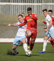 13th April 2019. Danske Bank Irish premiership. Cliftonville v Ballymena United at Solitude Belfast.. Cliftonville\'s Joe Gormley  in action with Ballymena\'s Albert Watson. Mandatory Credit -Inpho/Stephen Hamilton .