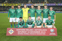 PressEye-Northern Ireland- 16th November 2019-Picture by Brian Little/PressEye. Northern Ireland team against Netherlands   during Saturday\'s EURO 2020 Qualifier at the National Football Stadium at Windsor Park.. Picture by Brian Little/PressEye