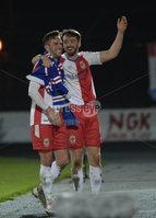 Danske Bank Premiership, The Showgrounds Ballymena 5/04/2019. Ballymena United v Linfield.  Linfield\'s Josh Robinson and Andy Waterworth  celebrates at the end of the game. Mandatory Credit INPHO/Stephen Hamilton.