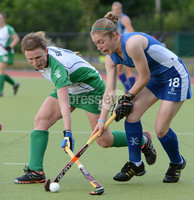 Mandatory Credit: Rowland White/Presseye. Women\'s Hockey: Senior Celtic Cup. Teams: Ireland (green) v Scotland (blue). Venue: Lisnagarvey. Date: 28th June 2012. Caption: Alex Speers, Ireland and Susan McGilveray, Scotland