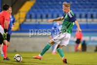 PressEye - Belfast - Northern Ireland - 10th October 2017. Euro 2019 Qualifier. Northern Ireland U21 vs Estonia U21. Pictured: Northern Ireland\'s Mark Sykes scores.. Picture: PressEye / Philip Magowan
