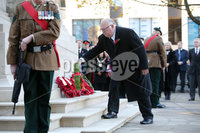 Press Eye - Belfast - Northern Ireland - 12th November 2017 . Ken Brundle,  the Hon Consul for Canada lays a wreath at The Cenotaph in the Garden of Remembrance, City Hall Grounds, Belfast during the National Day of Remembrance . It is the city of Belfast's tribute to the memory of those who died in the Great War and the Second World War. . . Photo by Kelvin Boyes / Press Eye..