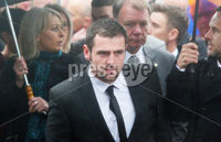 Press Eye - Belfast - Northern Ireland - 11th July 2018. Funeral for road racer William Dunlop at Garryduff Presbyterian Church outside Ballymoney in Co. Antrim.  The 32-year-old was killed while participating in the practise session of the Skerries 100 in Co. Dublin lat Saturday.  William\'s father Robert was also buried from Garryduff Presbyterian Church when he died at the North West 200 road race in 2008.. William Dunlop\'s brother Michael arrives for the funeral service. . Picture by Jonathan Porter/PressEye