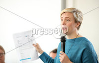 Press Eye - Belfast - Northern Ireland  - 8th August 2017 . Labour MP Stella Creasy speaks at an abortion event at the Falls Library in west Belfast as part of the west Belfast Festival.. Photo by Kelvin Boyes  / Press Eye.