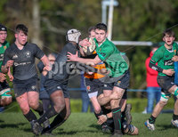 Press Eye - Belfast - Northern Ireland - 9th February 2019.. NO IMAGE FEE. Danske Bank Schools Cup rugby, Sullivan Upper v Campbell College.. Sullivans Rory Huston in action with Campbells Tobi Olaniyan. Photo by Matt Mackey / Press Eye.