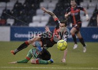 Danske Bank Premiership, Seaview Belfast.. 10/02/2018.  Crusaders v Glentoran. Crusaders Declan Caddell  in action with Glentorans Marcus kane . Mandatory Credit ©INPHO/Stephen Hamilton.