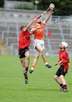 Ulster GAA Minor Hurling Championship Semi Final - Armagh V Down - 1 July 2012. Copyright Presseye.com. Mandatory Credit Declan Roughan / Presseye. Downs\'s Gareth O Neill and Armagh\'s Sean Colton