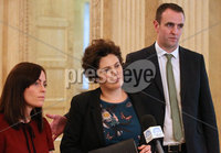 Press Eye - Belfast - Northern Ireland - 14th May 2018. The SDLP\'s (L-R) Nicola Mallon, Claire Hanna and Mark Durkan make a statement to the media on the Brexit negotiations in the Great Hall, Parliament Buildings, Stormont. Picture by Jonathan Porter/PressEye