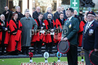 Press Eye - Belfast - Northern Ireland - 12th November 2017 . Councillors watch Belfast Lord Mayor Nuala McAllister lays a wreath at The Cenotaph in the Garden of Remembrance, City Hall Grounds, Belfast during the National Day of Remembrance . It is the city of Belfast's tribute to the memory of those who died in the Great War and the Second World War. . . Photo by Kelvin Boyes / Press Eye..