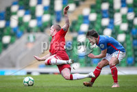 Danske Bank Premiership, Windsor Park, Belfast 9/2/2019. Linfield vs Coleraine. Linfield\'s Jordan Stewart with Coleraine\'s Aaron Canning. Mandatory Credit INPHO/Matt Mackey