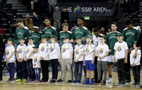 Press Eye - Belfast -  Northern Ireland - 01st December 2017 - Photo by William Cherry/Presseye. Manhattan College before Friday afternoons Basketball Hall of Fame Belfast Classic game at the SSE Arena, Belfast.