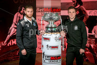 Press Eye - Belfast - Northern Ireland - 06th February 2019.. NO IMAGE FEE. Ballymena player James Knowles along with Linfield player Jamie Mulgrew pictured at the 2019 BetMcLean League Cup final press conference, at The National Football Stadium at Windsor Park.. Photo by Matt Mackey / Press Eye.