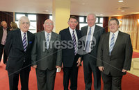 Press Eye - Belfast - Northern Ireland - Saturday 28th April 2012 -  Picture by Kelvin Boyes / Press Eye.. Linfield veterans from 1961-62 at the Ramada Hotel Belfast.. Pictured left to right are: Billy Kennedy, Frankie Taylor, Peter Lunn, Jim  Shaw and Ken Greer
