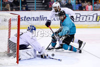 Press Eye - Belfast -  Northern Ireland - 24th August 2019 - Photo by William Cherry/Presseye . Belfast Giants\' Lewis Hook with Herning Blue Fox\'s Albert Adamsen during Saturday nights Exhibition Game at the SSE Arena, Belfast.    Photo by William Cherry/Presseye