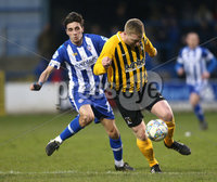 Tennent\'s Irish Cup Round 5, The Showgrounds, Co. Londonderry 5/1/2019. Coleraine vs H&W Welders. Coleraine\'s Jamie Glackin in action with H&W Welders Chris Morrow. Mandatory Credit INPHO/Matt Mackey
