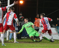 Danske Bank Premiership, Showgrounds, Ballymena. 14/2/2020. Ballymena United  vs Linfield FC. Linfield  Jordan Stewart scores past Ballymena United goal keeper Ross Glendinning . . Mandatory Credit  INPHO/Brian Little
