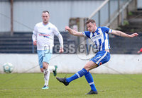 Danske Bank Premiership, The Ballymena Showgrounds, Co. Antrim 14/4/2018 . Coleraine vs Ballymena United.. Coleraine\'s Darren McCauley take sa shot on goal. Mandatory Credit ©INPHO/Jonathan Porter