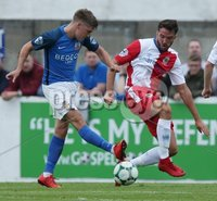 Danske Bank Premiership, Mourneview Park, Lurgan 4/8/2018. Glenavon FC vs  Linfield FC. Glenavon\'s  Josh Daniels   and Matthew Clarke   of Linfield.. Mandatory Credit @INPHO/Brian Little.