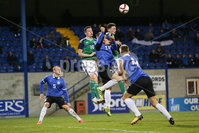 PressEye - Belfast - Northern Ireland - 10th October 2017. Euro 2019 Qualifier. Northern Ireland U21 vs Estonia U21. Pictured: Northern Ireland\'s David Parkhouse and Ryan Johnson and Estonia\'s Silver Grauberg.. Picture: PressEye / Philip Magowan