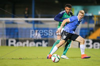 PressEye - Belfast - Northern Ireland - 10th October 2017. Euro 2019 Qualifier. Northern Ireland U21 vs Estonia U21. Pictured: Northern Ireland\'s Ryan Johnson and Estonia\'s Andre Jarva. . Picture: PressEye / Philip Magowan