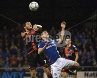 12th September 2017 . Danske Bank Irish premier league match between Crusaders and Linfield at Seaview.. Crusaders Philip Lowry  in action with Linfields Stephen Lowry.  Photo by Stephen Hamilton /Inpho