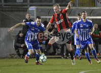Danske Bank Premiership, The Showgrounds Newry 11/01/2019. Newry vs Crusaders. Newrys Thomas McCann  with Crusaders Jordan Owens . Mandatory Credit INPHO/Stephen Hamilton.