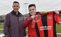 10th January 2019. Ex Birmingham City striker Ronan Hale pictured with manager Stephen Baxter at Seaview after signing for the Shore road side for two and a half years.. Photo by Stephen Hamilton/Presseye