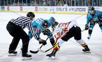 Press Eye - Belfast -  Northern Ireland - 11th January 2019 - Photo by William Cherry/Presseye. Belfast Giants Patrick Dwyer with HK Gomel during Friday nights Continental Cup Final game at the SSE Area, Belfast.   Photo by William Cherry/Presseye