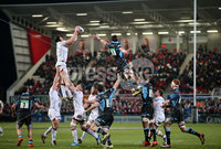 12 February 16 - Picture by Darren Kidd / Press Eye..  . Guinness PRO12 Ulster v Glasgow at Kingspan Stadium, Belfast.. Ulster\'s Franco van der Merwe takes the ball in the line