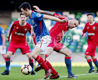 Irish Cup Fifth Round, Windsor Park, Belfast 6/1/2018. Linfield vs Glebe Rangers. Linfield\'s Stephen Fallon with Glebe\'s Lee Gault. Mandatory Credit ©INPHO/Jonathan Porter