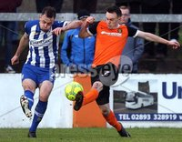 Danske Bank Premiership, Belfast Loughshore Hotels Arena 2/12/2017 . Carrick Rangers vs Coleraine. Darren McAuley of Coleraine and Lee Chapman of Carrick. Mandatory Credit ©INPHO/Freddie Parkinson