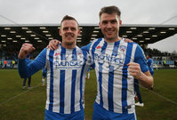 Danske Bank Premiership, Showgrounds, Ballymena . 7/3/2020. Ballymena United FC v Coleraine FC. Coleraine goal scorers  Aaron Canning and Stephen Lowry celebrates a  20-0 victory against  Ballyme. Mandatory Credit  INPHO/Brian Little