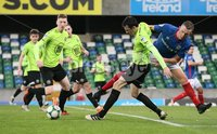 Danske Bank Premiership, Windsor Park, Belfast  3/11/2018. Linfield FC vs Warrenpoint Town. Linfield  Michael O\'Connor  and  Daniel  Wallace   of Warrenpoint Town.. Mandatory Credit @INPHO/Brian Little.
