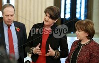 27th October 2018 - Picture by Matt Mackey / PressEye.com. The DUP leader Arlene Foster talks to the media in Parliament building, Stormont, Belfast